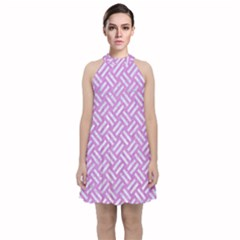 Woven2 White Marble & Purple Colored Pencil Velvet Halter Neckline Dress