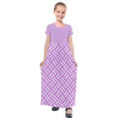 Woven2 White Marble & Purple Colored Pencil Kids  Short Sleeve Maxi Dress