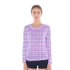 Woven1 White Marble & Purple Colored Pencil (r) Women s Long Sleeve Tee