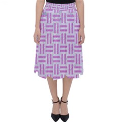 Woven1 White Marble & Purple Colored Pencil (r) Folding Skater Skirt
