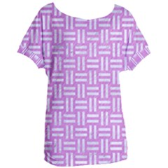 Woven1 White Marble & Purple Colored Pencil Women s Oversized Tee