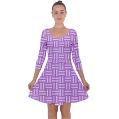 Woven1 White Marble & Purple Colored Pencil Quarter Sleeve Skater Dress