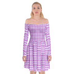 Woven1 White Marble & Purple Colored Pencil Off Shoulder Skater Dress