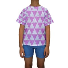 Triangle3 White Marble & Purple Colored Pencil Kids  Short Sleeve Swimwear
