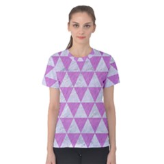 Triangle3 White Marble & Purple Colored Pencil Women s Cotton Tee