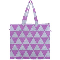 Triangle3 White Marble & Purple Colored Pencil Canvas Travel Bag by trendistuff