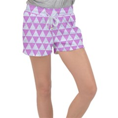 Triangle3 White Marble & Purple Colored Pencil Women s Velour Lounge Shorts