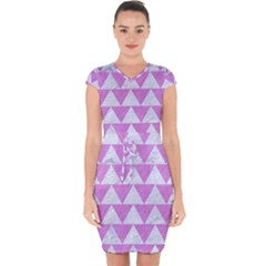 Triangle2 White Marble & Purple Colored Pencil Capsleeve Drawstring Dress