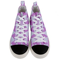 Triangle2 White Marble & Purple Colored Pencil Men s Mid Top Canvas Sneakers