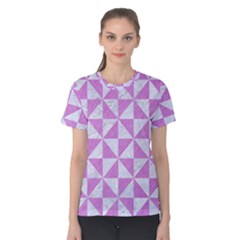 Triangle1 White Marble & Purple Colored Pencil Women s Cotton Tee