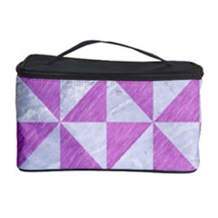 Triangle1 White Marble & Purple Colored Pencil Cosmetic Storage Case
