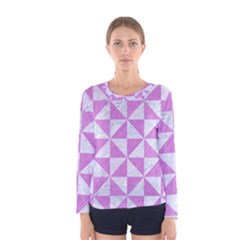 Triangle1 White Marble & Purple Colored Pencil Women s Long Sleeve Tee