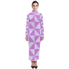 Triangle1 White Marble & Purple Colored Pencil Turtleneck Maxi Dress