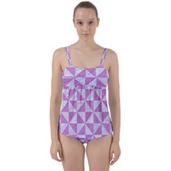 Triangle1 White Marble & Purple Colored Pencil Twist Front Tankini Set