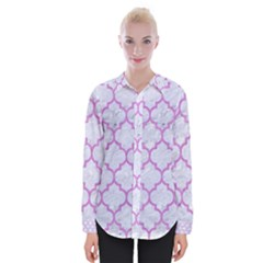 Tile1 White Marble & Purple Colored Pencil (r) Womens Long Sleeve Shirt