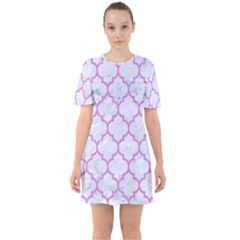 Tile1 White Marble & Purple Colored Pencil (r) Sixties Short Sleeve Mini Dress