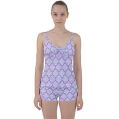 Tile1 White Marble & Purple Colored Pencil (r) Tie Front Two Piece Tankini