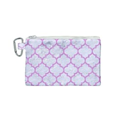 Tile1 White Marble & Purple Colored Pencil (r) Canvas Cosmetic Bag (small)