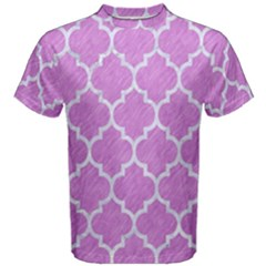 Tile1 White Marble & Purple Colored Pencil Men s Cotton Tee