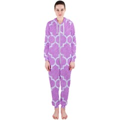 Tile1 White Marble & Purple Colored Pencil Hooded Jumpsuit (ladies)