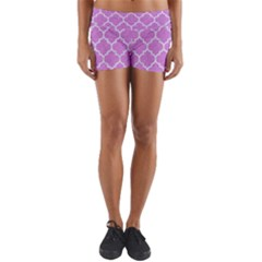 Tile1 White Marble & Purple Colored Pencil Yoga Shorts