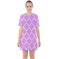 Tile1 White Marble & Purple Colored Pencil Sixties Short Sleeve Mini Dress