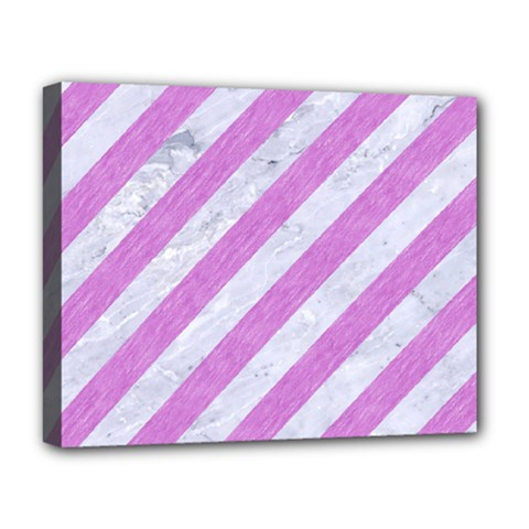 Stripes3 White Marble & Purple Colored Pencil (r) Deluxe Canvas 20  X 16