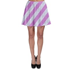 Stripes3 White Marble & Purple Colored Pencil (r) Skater Skirt