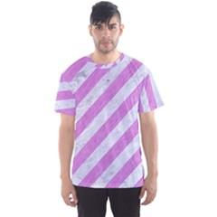 Stripes3 White Marble & Purple Colored Pencil (r) Men s Sports Mesh Tee