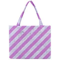 Stripes3 White Marble & Purple Colored Pencil (r) Mini Tote Bag