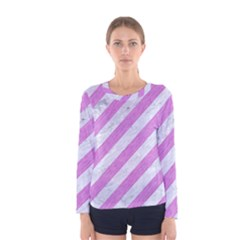 Stripes3 White Marble & Purple Colored Pencil (r) Women s Long Sleeve Tee