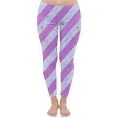 Stripes3 White Marble & Purple Colored Pencil (r) Classic Winter Leggings