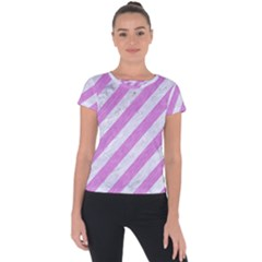 Stripes3 White Marble & Purple Colored Pencil (r) Short Sleeve Sports Top