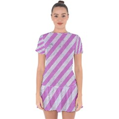 Stripes3 White Marble & Purple Colored Pencil (r) Drop Hem Mini Chiffon Dress