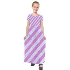 Stripes3 White Marble & Purple Colored Pencil (r) Kids  Short Sleeve Maxi Dress