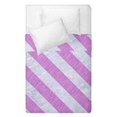 Stripes3 White Marble & Purple Colored Pencil Duvet Cover Double Side (single Size) by trendistuff