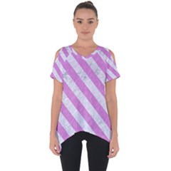 Stripes3 White Marble & Purple Colored Pencil Cut Out Side Drop Tee
