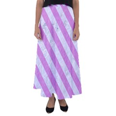 Stripes3 White Marble & Purple Colored Pencil Flared Maxi Skirt