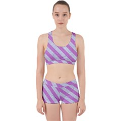 Stripes3 White Marble & Purple Colored Pencil Work It Out Gym Set