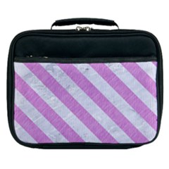 Stripes3 White Marble & Purple Colored Pencil Lunch Bag