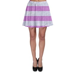 Stripes2white Marble & Purple Colored Pencil Skater Skirt