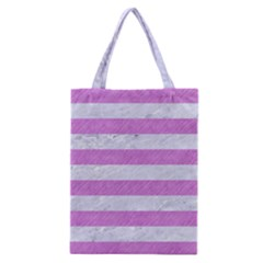 Stripes2white Marble & Purple Colored Pencil Classic Tote Bag