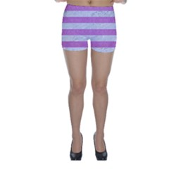 Stripes2white Marble & Purple Colored Pencil Skinny Shorts