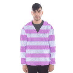 Stripes2white Marble & Purple Colored Pencil Hooded Windbreaker (men)