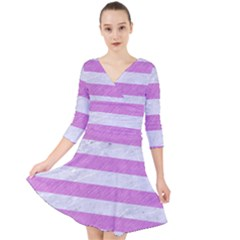 Stripes2white Marble & Purple Colored Pencil Quarter Sleeve Front Wrap Dress