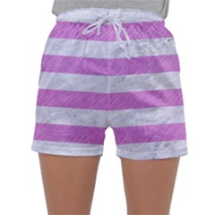 Stripes2white Marble & Purple Colored Pencil Sleepwear Shorts