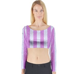 Stripes1 White Marble & Purple Colored Pencil Long Sleeve Crop Top