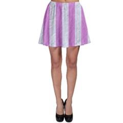 Stripes1 White Marble & Purple Colored Pencil Skater Skirt