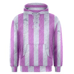 Stripes1 White Marble & Purple Colored Pencil Men s Pullover Hoodie
