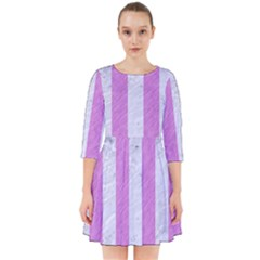 Stripes1 White Marble & Purple Colored Pencil Smock Dress